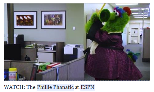 ESPN posted this video of the Phanatic being forced to wait around an office for some sort of interview about his book. However, an idle Phanatic is a mischievous Phanatic.